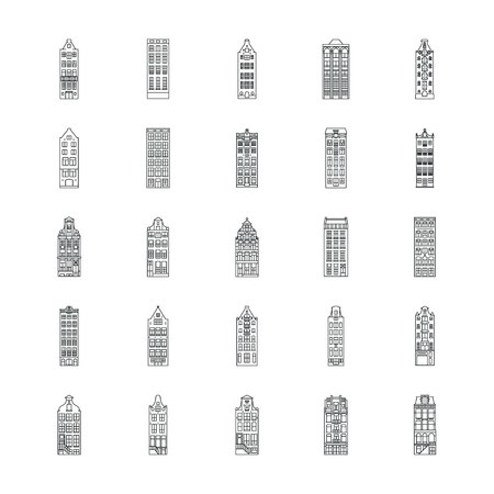 Amsterdam house icons set. Outline Amsterdam house vector icons set for web design isolated on white background