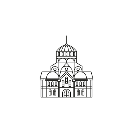 Church icon in outline style. Vector illustration with detalized church. Architecture and religion object. Archivio Fotografico - 98961310