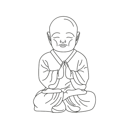 Budda icon in outline style. Vector illustration of Asian Buddha isolated on white background. Culture and tradition element.