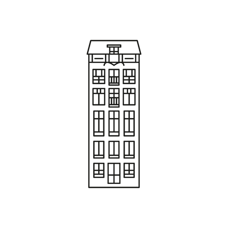 Amsterdam house , linear icon on white background. Vector object, architecture illustration.