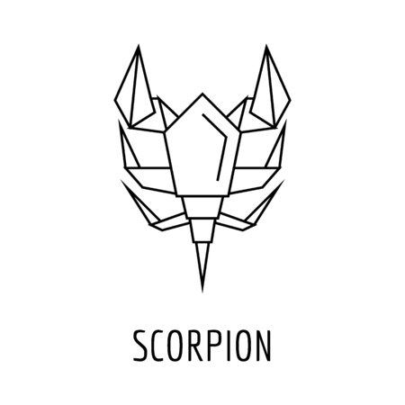 Origami scorpion icon. Outline Origami scorpion vector icon for web design isolated on white background