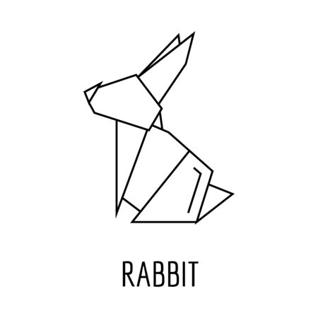 Origami rabbit icon. Outline rabbit origami vector icon for web design isolated on white background Illustration