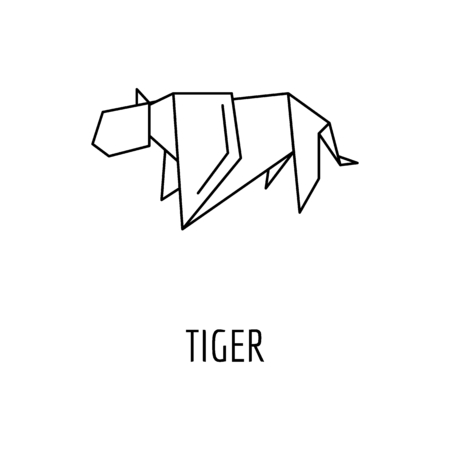 Outline Origami tiger vector icon for web design isolated on white background 矢量图像