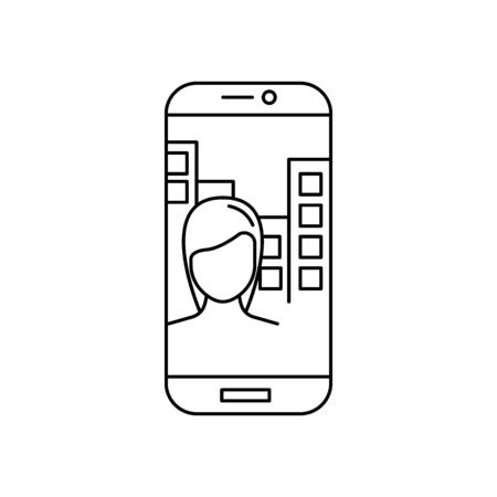 Girl in phone. Outline Girl in phone make selfie vector illustration for web design isolated on white background