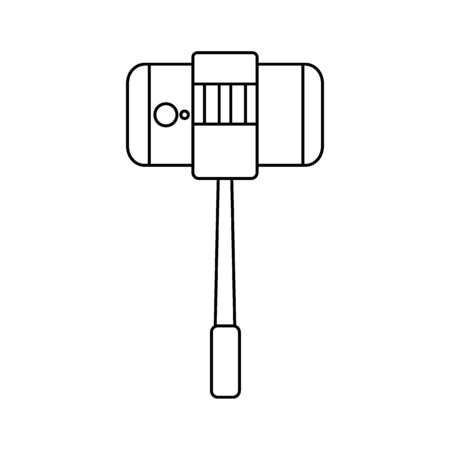 Selfie stick with mobile phone icon