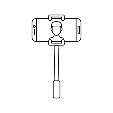 Selfie stick. Outline Selfie stick with phone vector illustration for web design isolated on white background