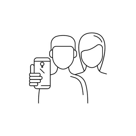 Boy and girl make selfie. Outline Boy and girl make selfie vector illustration for web design isolated on white background