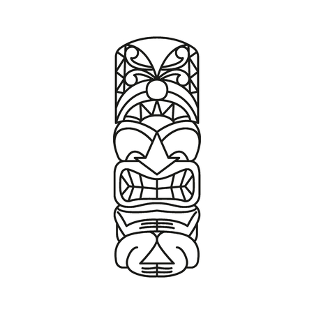 Tiki Tribal Totem head. Traditional Totem icon, North America culture Element, black outline vector illustration
