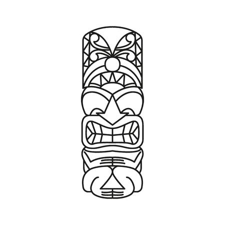 Tiki Tribal Totem Kopf. Traditionelle Totemikone, Nordamerika-Kulturelement, schwarze Umrissvektorillustration