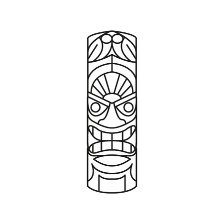 Tiki Tribal Totem head. Traditional Totem icon, Hawaiian culture Element, in black outline vector illustration