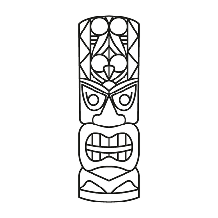 Tiki Tribal Totem head. Traditional Totem icon, Hawaiian culture Element, vector illustration
