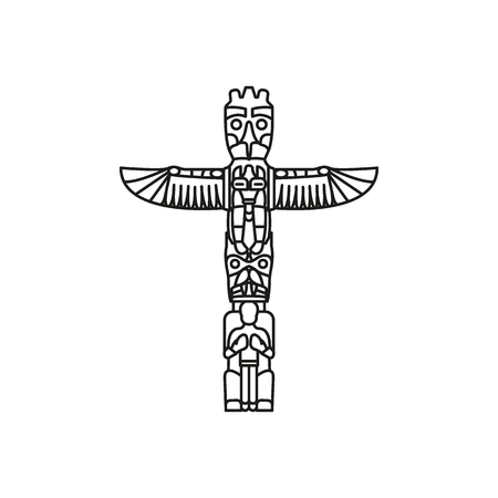 Tiki Tribal Totem with wings . Traditional Totem icon, North America culture Element, vector illustration
