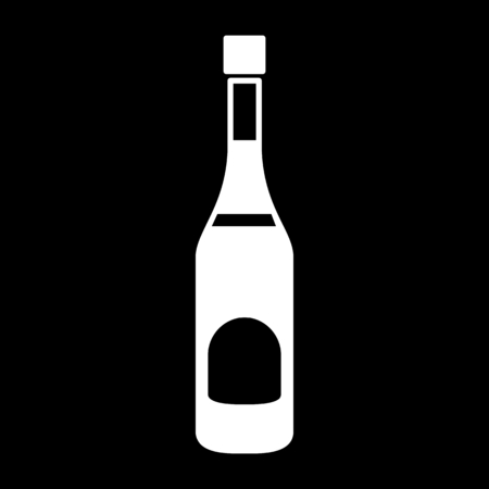 Vodka icon. Silhouette Vodka alcohol bottle vector icon for web design isolated on black background