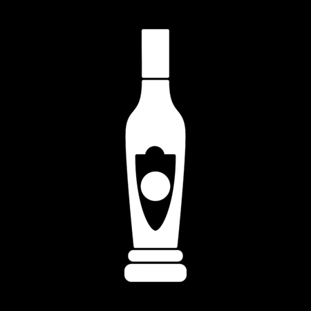 Liqueur icon. Silhouette Liqueur alcohol bottle vector icon for web design isolated on black background