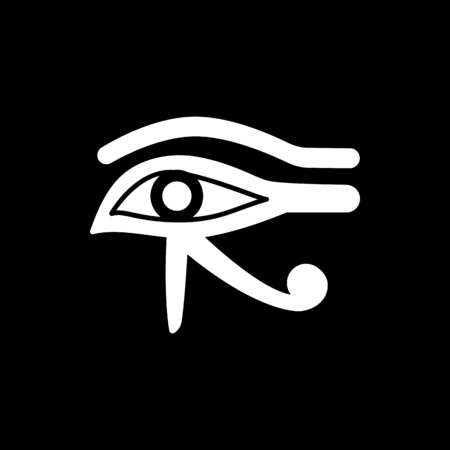 Egyptian eye icon. Silhouette Egyptian eye vector icon for web design isolated on black background