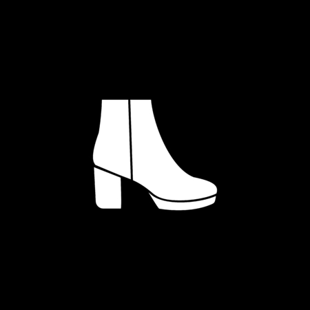 High woman boot icon. Silhouette High woman boot vector icon for web design isolated on black background