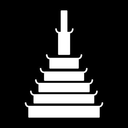 Temple icon. Silhouette Temple vector icon for web design isolated on black background Ilustração
