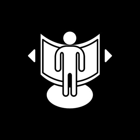 Man in virtual reality icon. Silhouette Man in virtual reality vector icon for web design isolated on black background