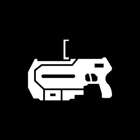 Virtual reality gun icon. Silhouette Virtual reality gun vector icon for web design isolated on black background Vettoriali