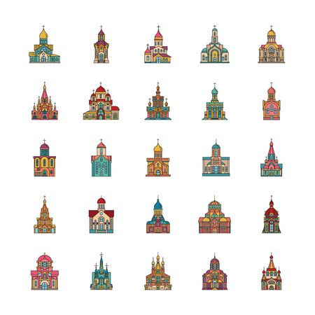 Church set. Cartoon color Church set vector for web design isolated on white background