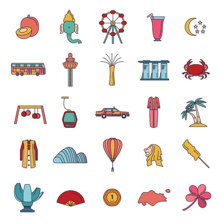 Singapore icon set. Cartoon Singapore set vector for web design isolated on white background