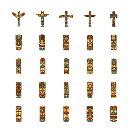 Totem icons set. Cartoon illustration of Totem vector icons for web and advertising. Culture elements. Illustration