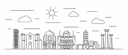 Cyprus panorama. Cyprus vector illustration in outline style with buildings and city architecture. Welcome to Cyprus.