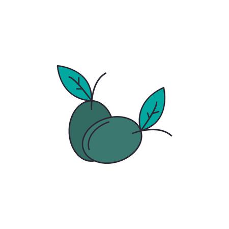 オリーブのアイコン。ウェブと広告のためのオリーブベクトルアイコンの漫画のイラスト
