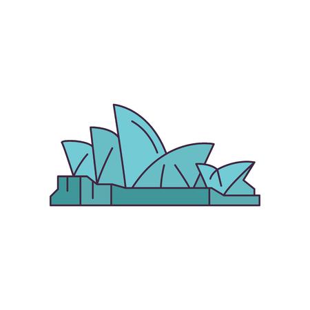 Opernhaus-Ikone. Cartoon-Opernhaus-Vektorikone für Webdesign lokalisiert auf weißem Hintergrund