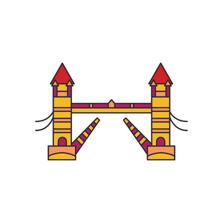Tower bridge icon. Cartoon tower bridge vector icon for web design isolated on white background