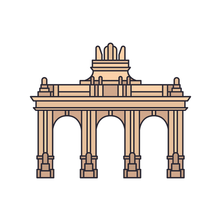 Triumphal arch icon. Cartoon Triumphal arch vector icon for web design isolated on white background