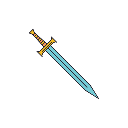 Sword icon. Cartoon sword vector icon for web design isolated on white background