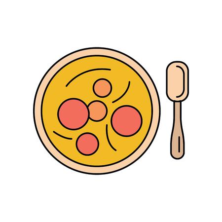 Bakso icon. Cartoon bakso vector icon for web design isolated on white background Illustration