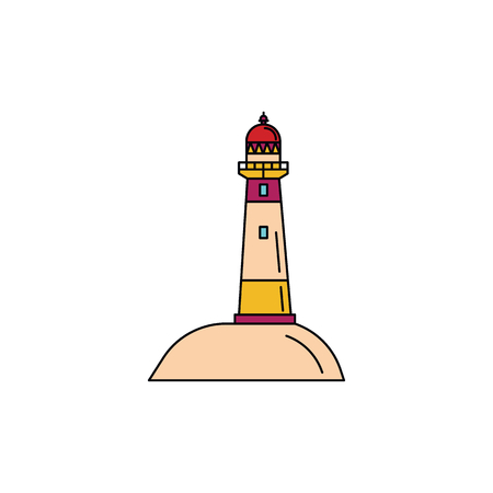 Palliser lighthouse icon. Cartoon Palliser lighthouse vector icon for web design isolated on white background Çizim