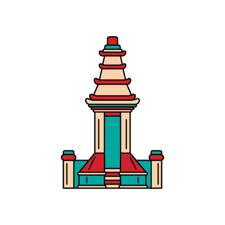 Indonesian temple icon. Cartoon indonesian temple vector icon for web design isolated on white background