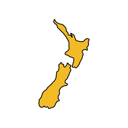 New Zeland map icon. Cartoon New Zeland map vector icon for web design isolated on white background