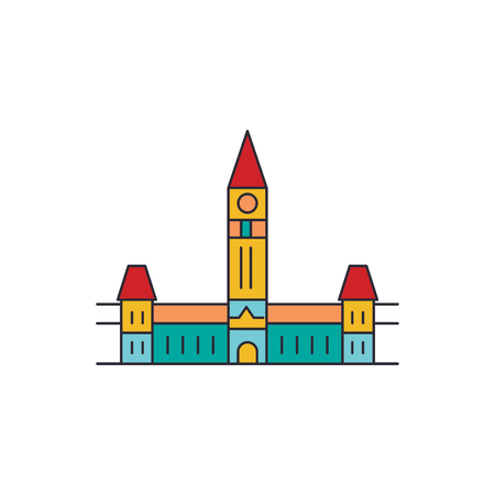 Parliament hill icon. Cartoon parliament hill vector icon for web design isolated on white background