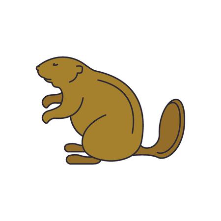 Icône de castor. Icône de vecteur de castor de dessin animé pour la conception web isolé sur fond blanc