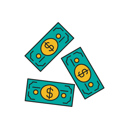 Dollars icon. Cartoon dollars vector icon for web design isolated on white background