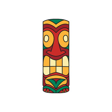 Tiki tribal cartoon totem idol. Hawaiian traditional elements. Colored cartoon icon. Isolated on white background. Vector illustration.