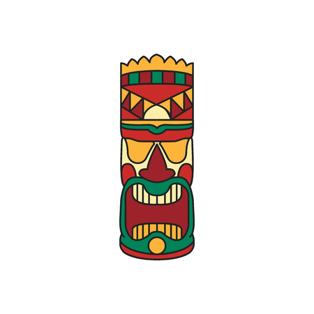 Tiki tribal colored totem. Hawaiian culture elements. Colored cartoon icon. Isolated on white background. Vector illustration.