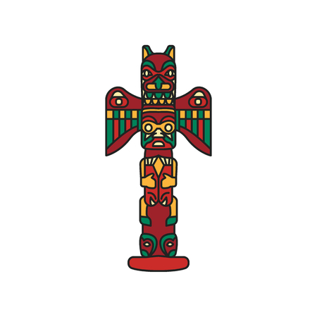 Tiki tribal wooden mask. Hawaiian traditional culture elements. Colored cartoon icon. Isolated on white background. Vector illustration.