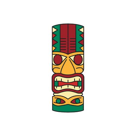Tiki-Stammes-Holzmaske. Traditionelle hawaiianische Elemente. Farbige Cartoon-Symbol. Isoliert auf weißem Hintergrund. Vektor-Illustration. Vektorgrafik