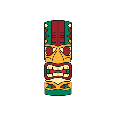 Tiki tribal wooden mask. Hawaiian traditional elements. Colored cartoon icon. Isolated on white background. Vector illustration.