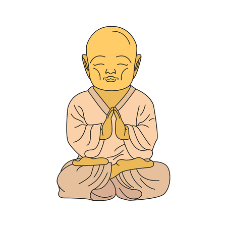 Buddha illustration. Cartoon Japan Buddha illustration vector illustration for web design isolated on white background