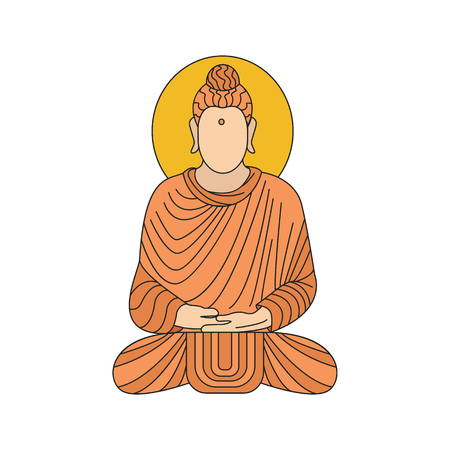 Buddha illustration. Cartoon Indian Buddha illustration vector illustration for web design isolated on white background