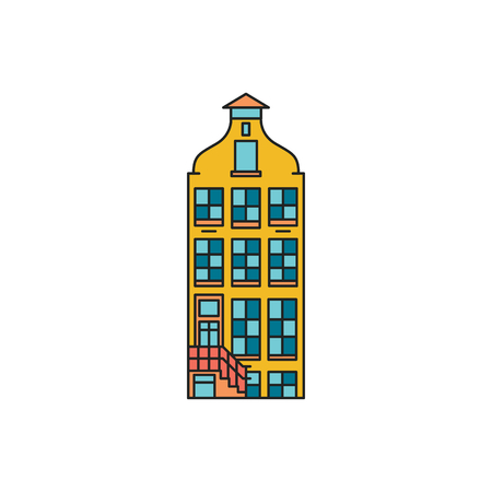 Old house icon. Cartoon Old Amsterdam house icon illustration vector illustration for web design isolated on white background
