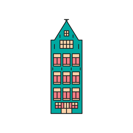 Old house icon. Cartoon Old European house icon illustration vector illustration for web design isolated on white background