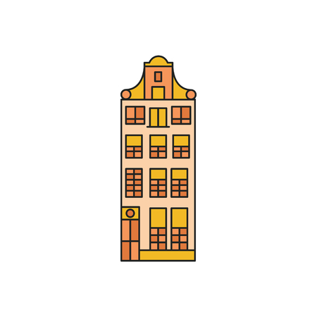 Old house icon. Cartoon Old Amsterdam house icon illustration vector illustration for web design isolated on white background  イラスト・ベクター素材
