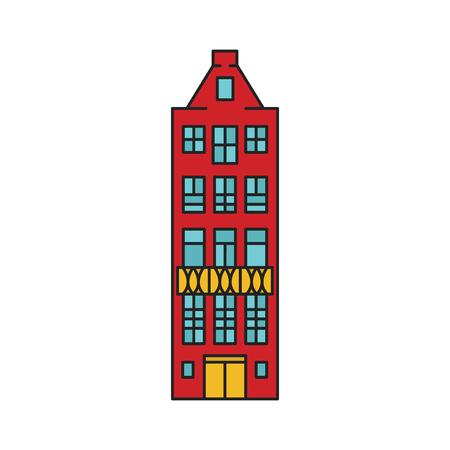 Alte Hausikone. Karikatur-alte Stockholmer Hausikonenillustrationsvektorillustration für Webdesign lokalisiert auf weißem Hintergrund Vektorgrafik